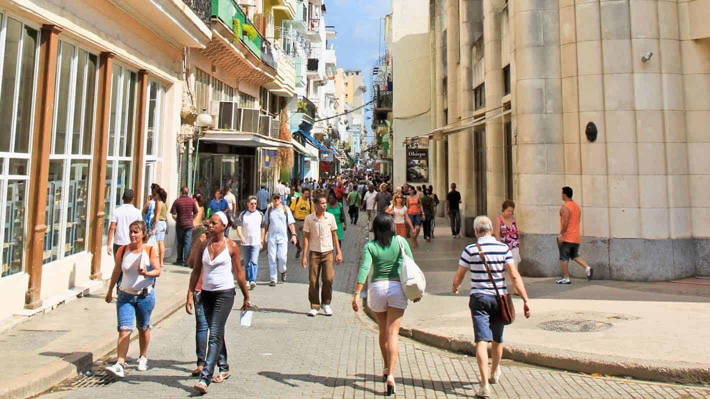 Old Havana Tour - Lively Obispo street in Old Havana