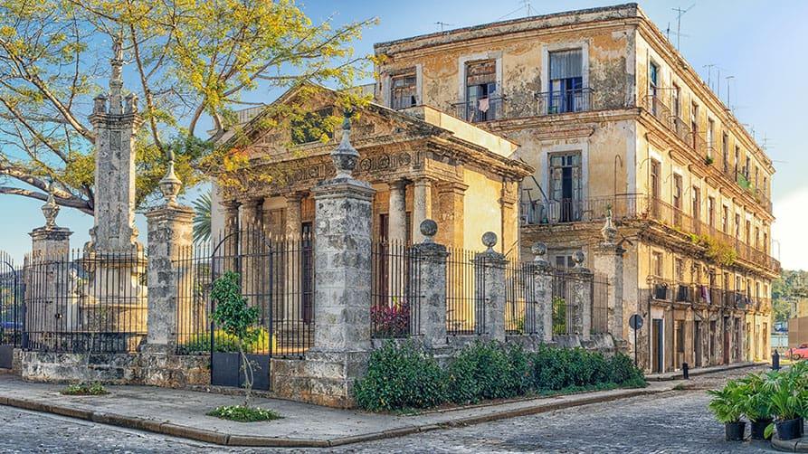 Havana City Tour - Neoclassical monument of El Templete in Plaza de Armas in Old Havana