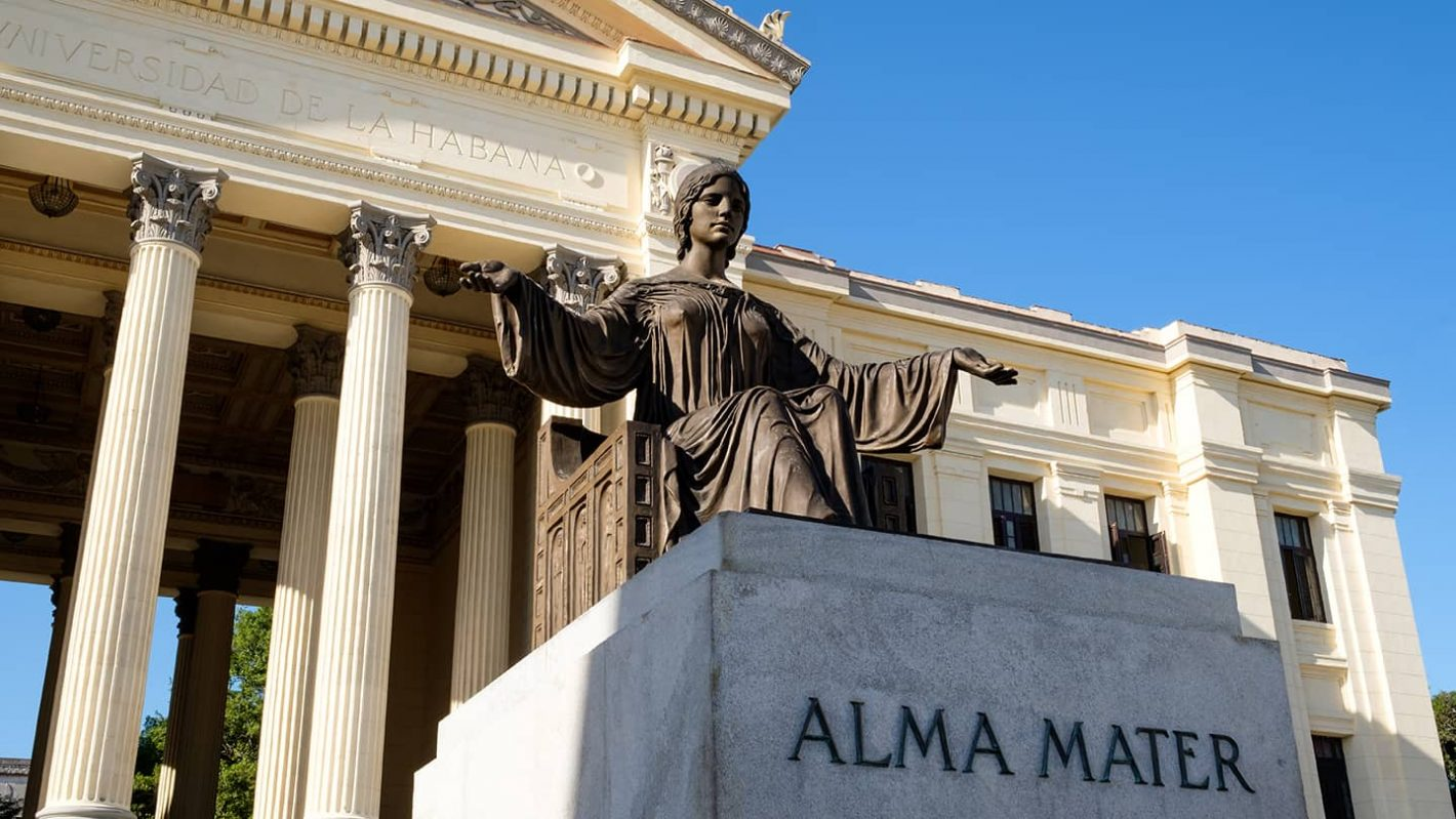 """Havana City Tour - During this tour you will see a Bronze Statue in front of Havana University with the inscription """"Alma Mater"""""""